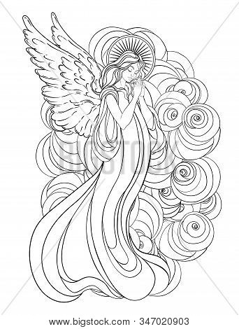 Angel Girl With Wings, Cross, Roses And Halo. Isolated Hand Drawn Vector Illustration. Trendy Vintag
