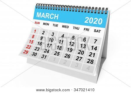 2020 Year March Calendar On A White Background. 3d Rendering