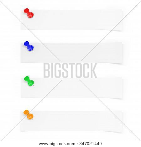Strip Of Blank Paper With Empty Space For Your Design Pinned By Multicolour Paper Pins On A White Ba
