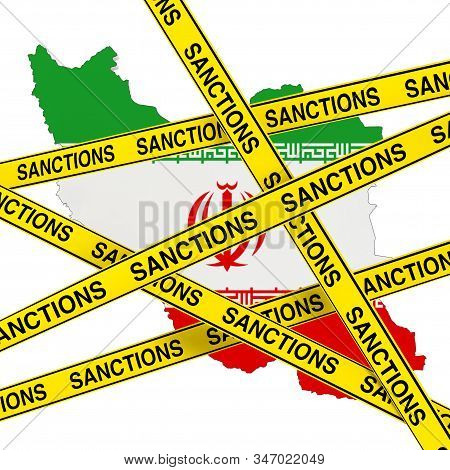 Iran Sanctions Concept. Yellow Tape With Sanctions Sign Against Of Iran Map With Flag On A White Bac