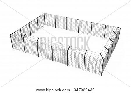 Prison Jail Fence As Security Perimeter On A White Background. 3d Rendering