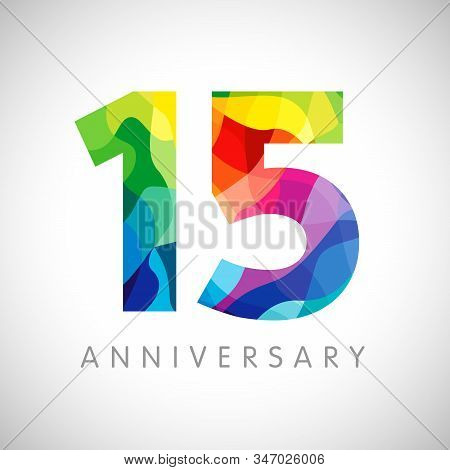 15 Th Anniversary Numbers. 15 Years Old Logotype. Bright Congrats. Isolated Abstract Graphic Web Des