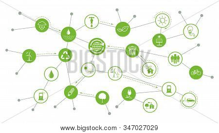 Sustainability Icons Concept With Relation Of Environment, Ecology Friendly And Green Energy, Vector