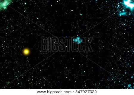 Stars Of A Planet And Galaxy In A Free Space.