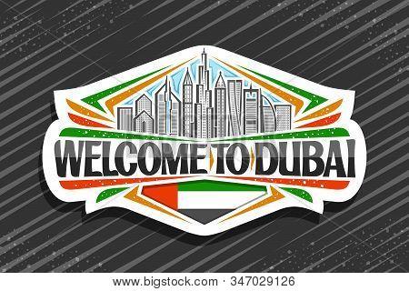 Vector Logo For Dubai, White Decorative Signage With Line Illustration Of Modern Dubai Cityscape On