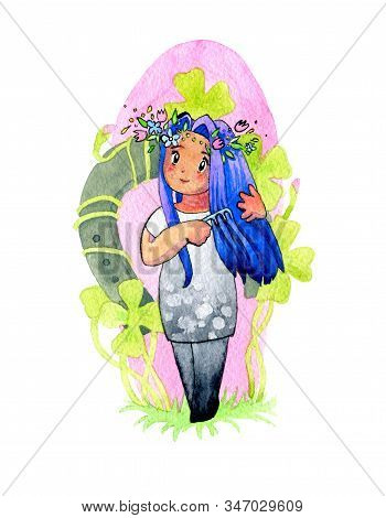 Watercolor Illustration. Cute Kawaii Girls In The Form Of Signs Of The Gita Horoscope. Humanization