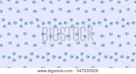 Animal Tracks Horizontal Seamless Pattern. Footpath Trail Of Animal Snow Seamless Pattern. Dog Or Ca