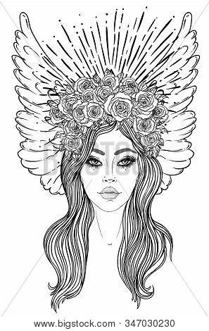 Magic Night Fairy. Hand Drawn Portrait Of A Beautiful Shaman Girl With Angel Wings. Alchemy, Religio