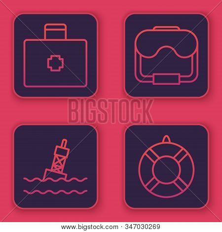 Set Line First Aid Kit, Floating Buoy On The Sea, Diving Mask And Lifebuoy. Blue Square Button. Vect