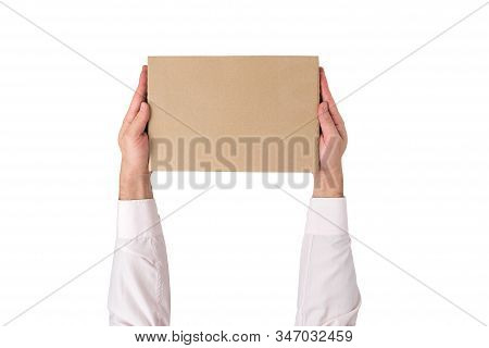 Rectangular Box In Male Hands. White Background. Top View, Mock Up