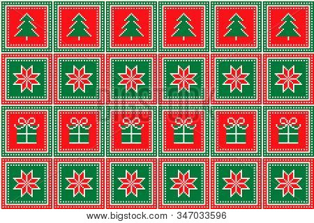 Christmas Pixel Pattern With Christmas Trees, Stars And Gift Box Ornament. Ugly Sweater Party Patter