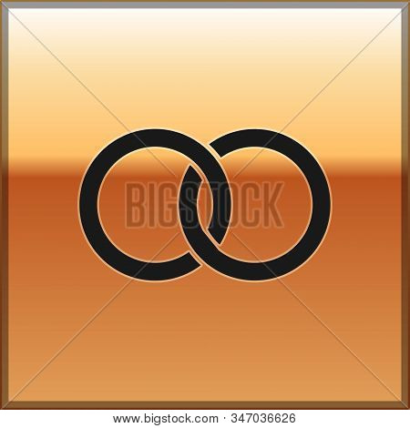 Black Wedding Rings Icon Isolated On Gold Background. Bride And Groom Jewelery Sign. Marriage Icon.