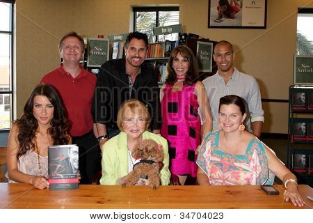 LOS ANGELES - JUL 8:  Maloney, Diamont, Linder, James, Wood, Lee P Bell, Joy (the dog), Heather Tom at the William J. Bell Biography Booksigning at Barnes and Noble on July 8, 2012 in Costa Mesa, CA