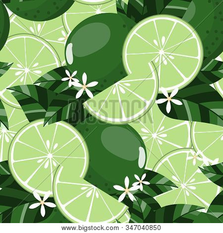 Seamless Pattern Of Limes, Sliced Limes With Leaves And Lime Flowers. Vector Illustration.