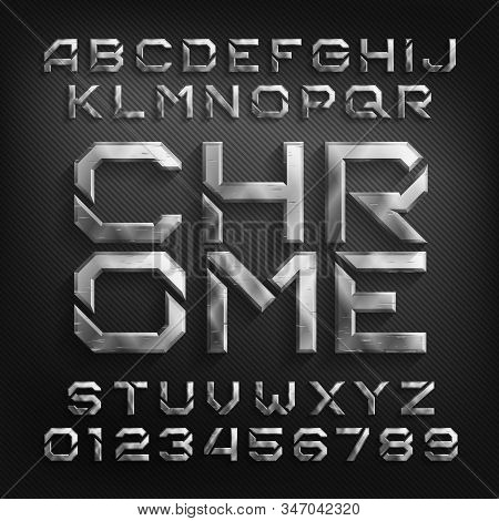 Damaged Chrome Alphabet Font. Scratched Beveled Metallic Letters And Numbers With Shadow. Stock Vect