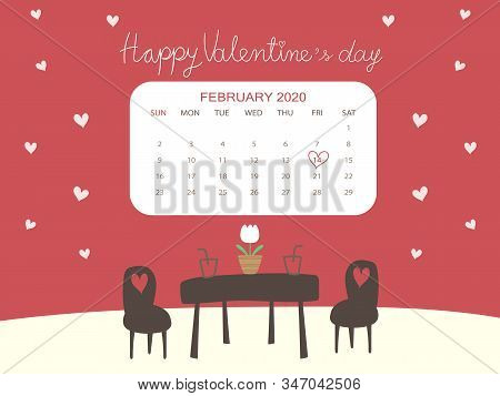 Beautiful Calendar 2020 February In Valentine's Day Concept With Copy Space. Cute Red Valentine Back