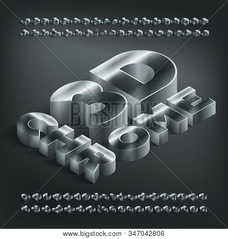 3d Chrome Alphabet Font. Isometric Metallic Letters And Numbers With Shadow. Stock Vector Typeface F