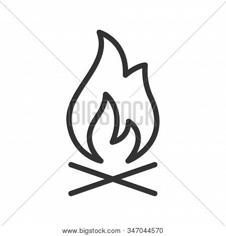 Campfire Flame Outline Ui Web Icon. Campfire With Wood Vector Icon For Web, Mobile And User Interfac