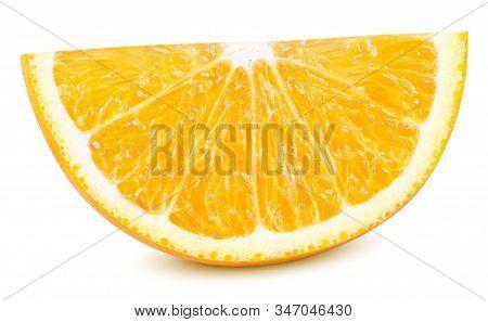Isolated Orange Fruit. Ripe Slice Of Orange Citrus Fruit Isolated On White Background. Orange Citrus