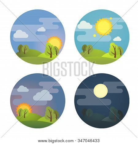 Set Of Round Four Times Of Day Icons: Morning, Day, Evening, Night. Stock Vector Illustration. Isola