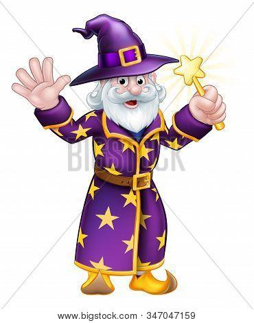 A Cartoon Halloween Wizard Character Waving A Magic Wand