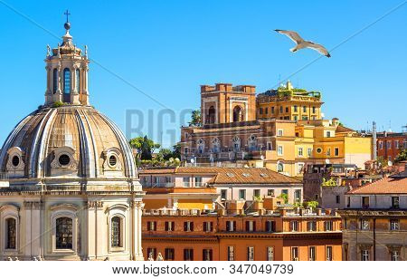 Rome In Summer, Italy. Colorful Vintage Houses With Terraces Near Famous Trajan Forum In Rome Center