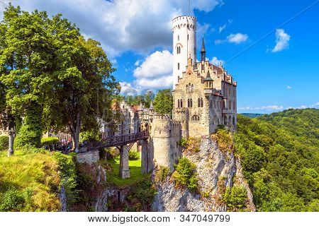 Lichtenstein Castle With High Bridge, Germany. This Scenic Castle Is A Landmark Of Germany. Beautifu
