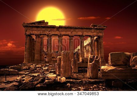 Parthenon On Acropolis Of Athens, Greece. It Is A Top Landmark Of Athens. Scenic View Of Famous Temp