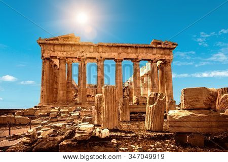 Parthenon On Acropolis Of Athens, Greece. It Is A Top Landmark Of Athens. Nice Scenery Of Ancient Gr