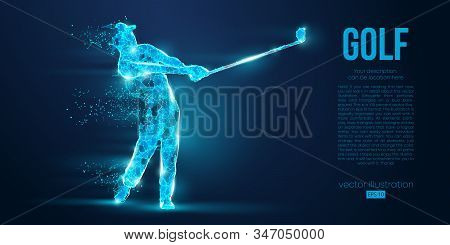 Silhouette Of A Golf Player, Golfer From Particles On Blue Background. All Elements On A Separate La