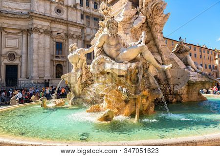 Rome - May 9, 2014: Fountain Of The Four Rivers On Navona Square In Rome, Italy. Nice Piazza Navona