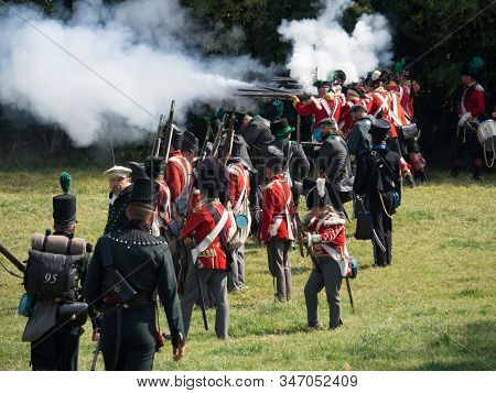 Waterloo, Belgium - June 18 2017: Allied Forces Fire Their Muskets During The Re-enactment Of The Ba