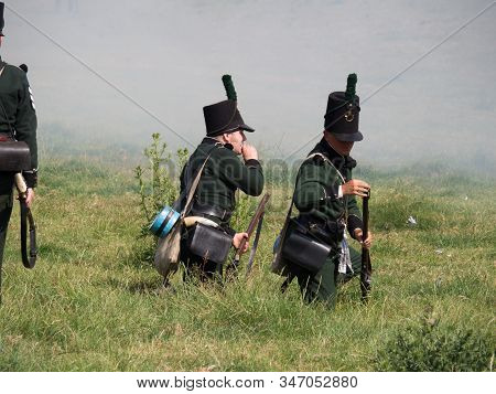 Waterloo, Belgium - June 18 2017: Allied Forces Reloading Their Muskets During The Re-enactment Of T
