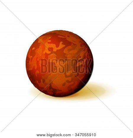 Mockup Of Textured Rusty Or Reddish Sphere. Rough, Bumpy Ball. Orb Icon 3d Yellow-red Color. Realist