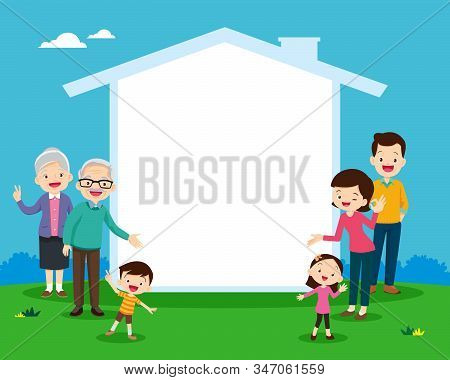 Family And House Icon For Your Text.concept Of The Home Of Happy Family. Grandfather,grandmother,dad
