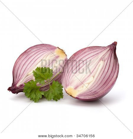 Red sliced onion half and fresh parsley still life isolated on white background