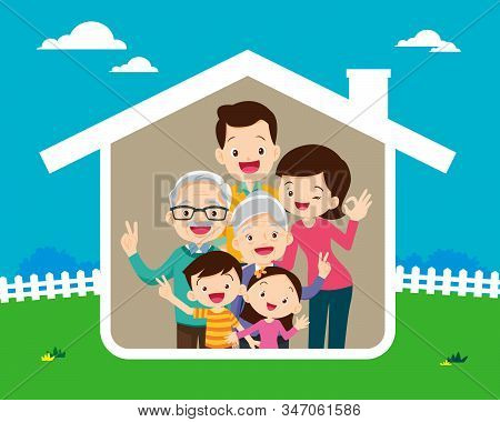 Family Icon Inside The House.concept Of The Home Of Happy Family. Grandfather,grandmother,dad, Mothe