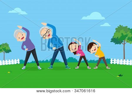 Senior People And Children.elderly And Kids Doing Exercises. Grandparents And Grandchild Play Sport.