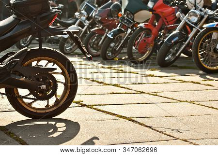 Many Motorcycles On The Biker Show. Motorcycle Elements Closeup. City Bikers Festival.
