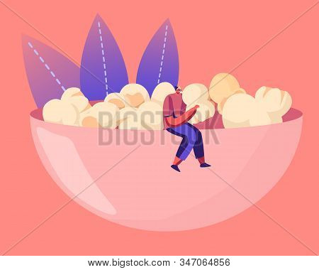 Male Character In Hipster Clothing Sitting On Huge Bowl Full Of Pop Corn Enjoying Snack Eating. Peop