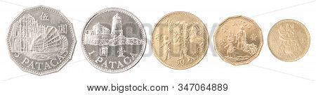 Macau Full Set Of Coins In A Row Isolated On White Background