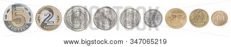 Full Set Of Polish Coins In A Row Isolated On White Background