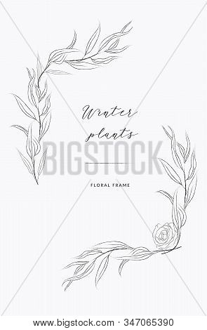 Delicate Line Drawing Vector Floral Wreath Frame. Hand Drawn Delicate Branches, Leaves, Plants. Bota
