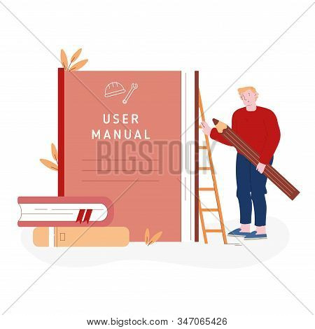 User Manual Tutorial Concept. User Reading Guidebook And Writing Technical Instructions. Male Charac