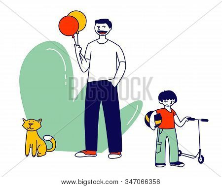Happy Family Of Little Cheerful Boy Walking With Dad Having Fun Outdoors. Father Day Holiday, Summer