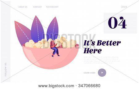 People Choose Crisp Food Website Landing Page. Male Character In Hipster Clothing Sitting On Huge Bo