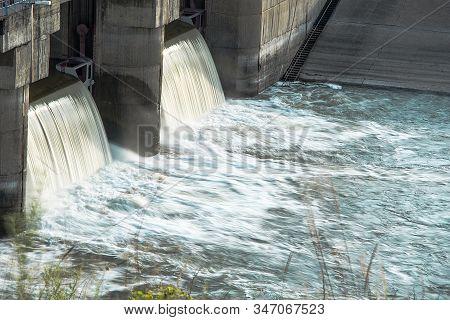 Dam. Bubbling Water Breaks Through The Dam