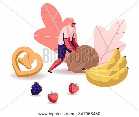 Man Rolling Huge Nut With Pretzel, Bananas And Berries Scattered Around. Healthy Organic Nutrition W