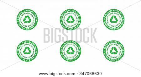 Set Of Recycling Organic, Plastic, Paper, Glass, Metal And E-waste Green Cirlce Badge With Mobius St
