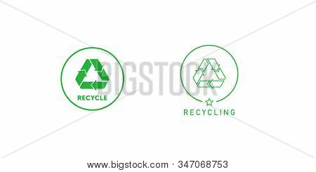 Set Of Recycling Sign Green Round Line Sticker With Mobius Strip, Band Or Loop. Design Element For P